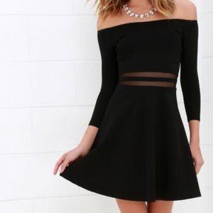 Lulu's Black Mesh Slater Dress NWT